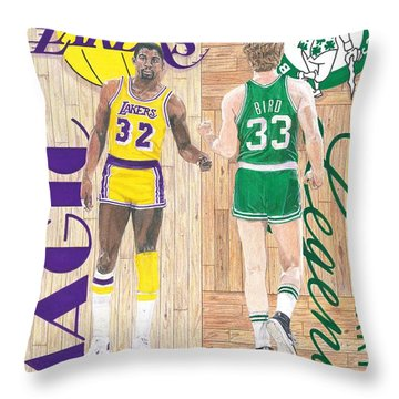 Magic Johnson And Larry Bird Throw Pillow by Chris Brown