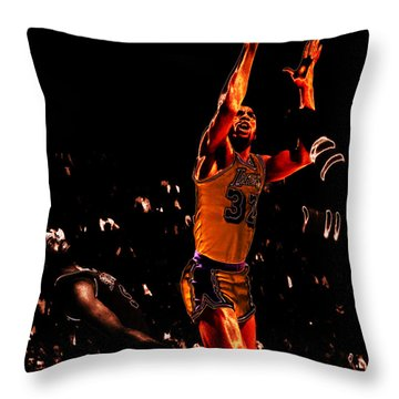 Magic Johnson Lean Back II Throw Pillow by Brian Reaves