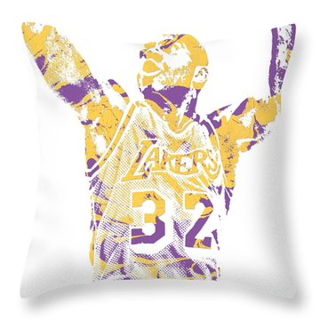 Magic Johnson Los Angeles Lakers Pixel Art 7 Throw Pillow