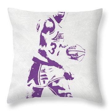 Magic Johnson Los Angeles Lakers Pixel Art Throw Pillow by Joe Hamilton