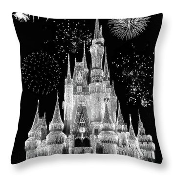 Magic Kingdom Castle In Black And White With Fireworks Walt Disney World Mp Throw Pillow