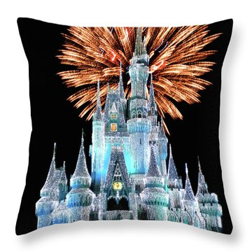 Magic Kingdom Castle In Frosty Light Blue With Fireworks 02 Mp Throw Pillow