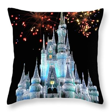Magic Kingdom Castle In Frosty Light Blue With Fireworks 03 Mp Throw Pillow
