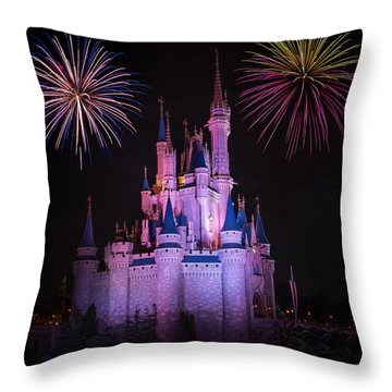Magic Kingdom Castle Under Fireworks Square Throw Pillow