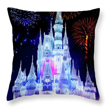 Magic Kingdom Fireworks Throw Pillow