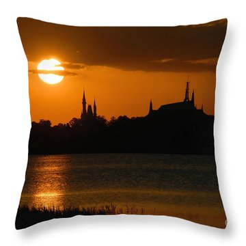 Magic Kingdom Sunset Throw Pillow