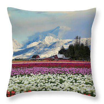 Magic Landscape 1 - Tulips Throw Pillow by Rick Lawler