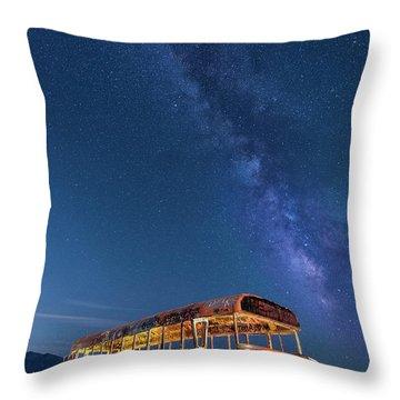 Magic Milky Way Bus Throw Pillow