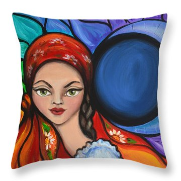 Throw Pillow featuring the painting Magic Moon by Agata Lindquist