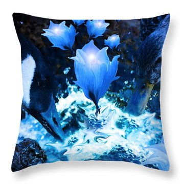Magic Water Flowers  Throw Pillow by Cathy  Beharriell