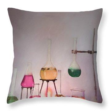 Magical Beakers Throw Pillow by Enzie Shahmiri