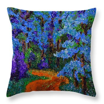 Magical Blue Forest Throw Pillow