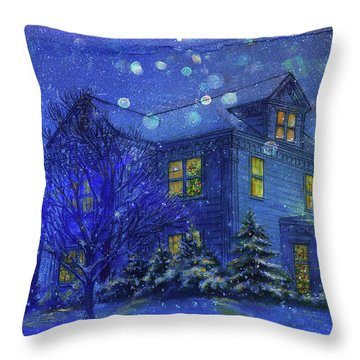 Magical Blue Nocturne Home Sweet Home Throw Pillow