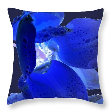 Magical Flower I - Blue Velvet Throw Pillow