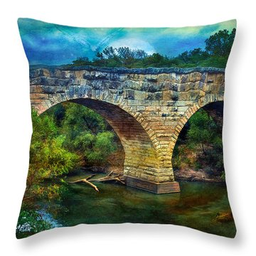 Magical Middle Of Nowhere Bridge Throw Pillow