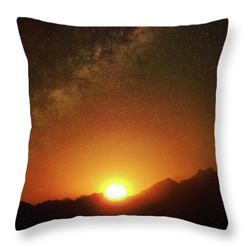 Magical Milkyway Above The African Mountains Throw Pillow