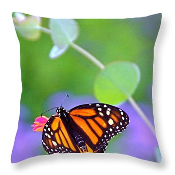 Throw Pillow featuring the photograph Magical Monarch by Byron Varvarigos