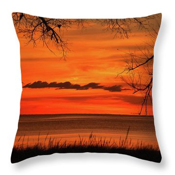 Magical Orange Sunset Sky Throw Pillow