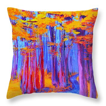 Throw Pillow featuring the painting Magical Path - Enchanted Forest Collection - Modern Impressionist Landscape Art - Palette Knife Work by Patricia Awapara