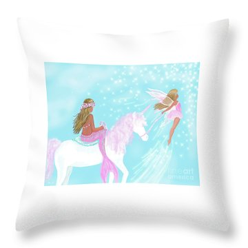 Throw Pillow featuring the painting Magical Play Day by Leslie Allen