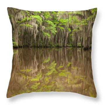 Magical Reflection In Caddo Lake Throw Pillow by Iris Greenwell