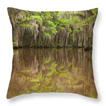 Magical Reflection In Caddo Lake Throw Pillow