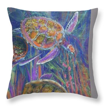 Magical Sea Turtles  Throw Pillow by Julianne Ososke