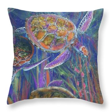 Magical Sea Turtles  Throw Pillow