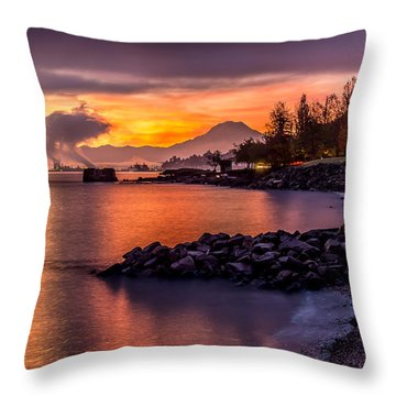 Magical Sunrise On Commencement Bay Throw Pillow