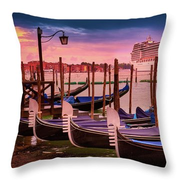 Gondolas And Cityscape At Sunset In Venice, Italy Throw Pillow