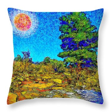 Throw Pillow featuring the digital art Sparkling Mountain Sunshine - Boulder County Colorado by Joel Bruce Wallach