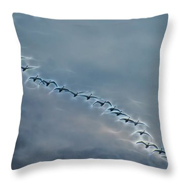 Magical Tundra Swan Fly-over Throw Pillow