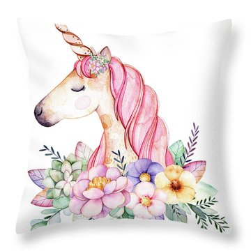 Magical Watercolor Unicorn Throw Pillow
