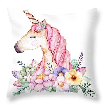Magical Watercolor Unicorn Throw Pillow