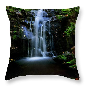 Magical Waterfall Above Spruce Falls In Tremont Smoky Mountains Tennessee  Throw Pillow