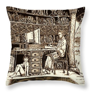 Throw Pillow featuring the digital art Magical Workshop by Russell Kightley