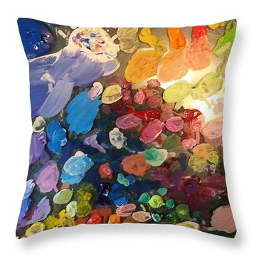 Magnetic Paint Palette Throw Pillow by Tanielle Childers