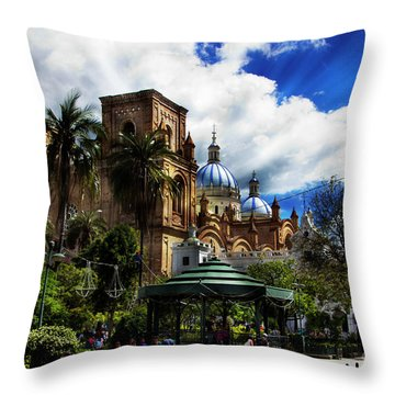 Throw Pillow featuring the photograph Magnificent Center Of Cuenca, Ecuador IIi by Al Bourassa