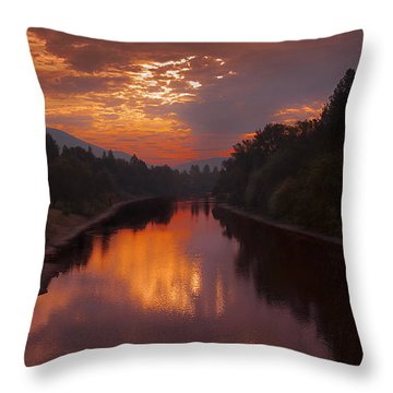 Magnificent Clouds Over Rogue River Oregon At Sunset  Throw Pillow