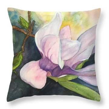 Magnificent Magnolia Throw Pillow by Lucia Grilletto