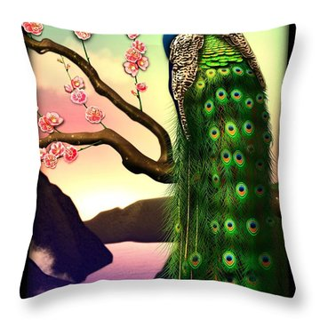 Magnificent Peacock On Plum Tree In Blossom Throw Pillow