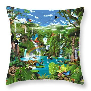 Magnificent Rainforest Throw Pillow