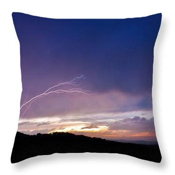 Magnificent Sunset Lightning Throw Pillow
