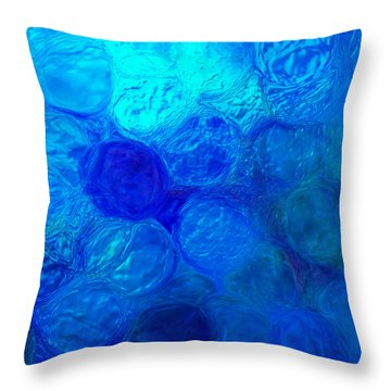 Magnified Blue Water Drops-abstract Throw Pillow