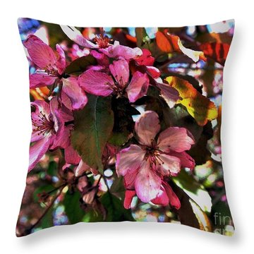 Magnolia Abstract Throw Pillow by Marsha Heiken