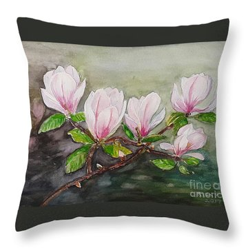 Magnolia Blossom - Painting Throw Pillow by Veronica Rickard
