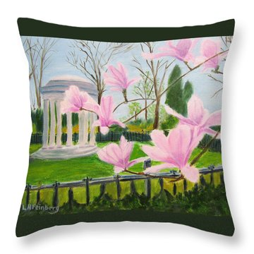 Throw Pillow featuring the painting Magnolia Blossoms At Wagner Park by Linda Feinberg