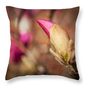 Magnolia Bud Artified Throw Pillow