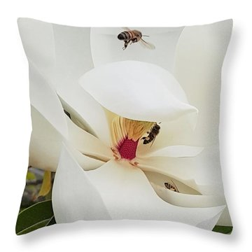 Magnolia Fans Throw Pillow by Jasna Gopic