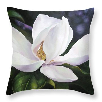 Magnolia Flower Throw Pillow